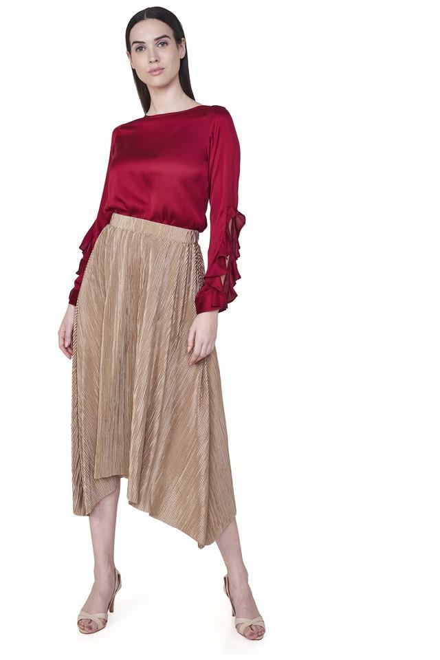 Womens Slub Midi Skirt