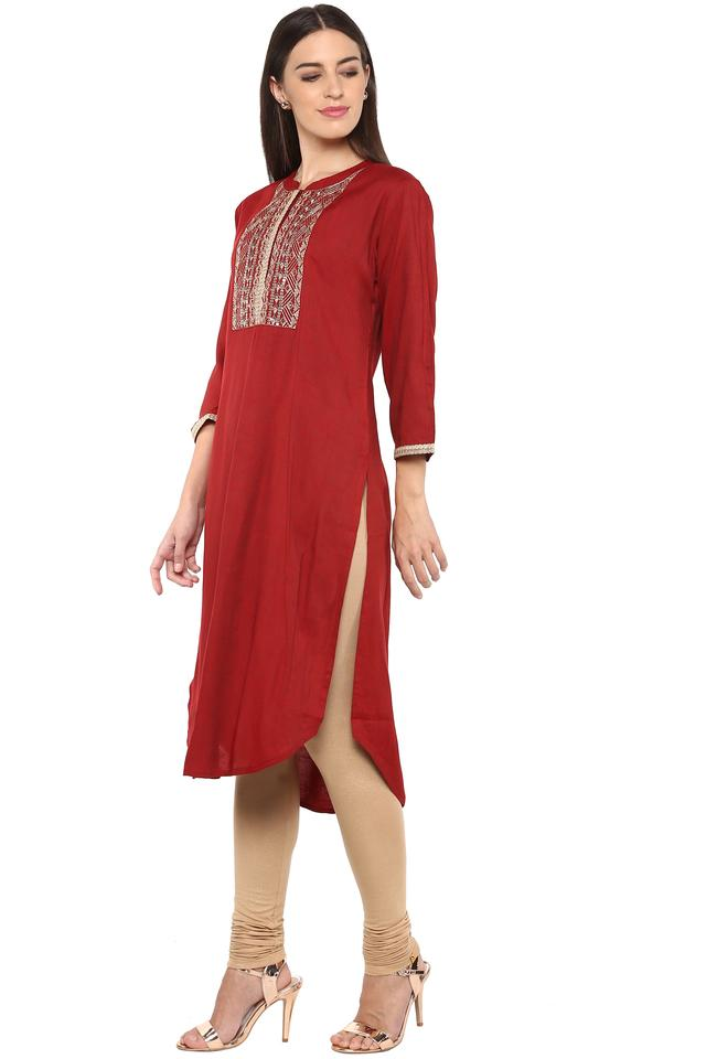 Womens Band Neck Solid Kurta