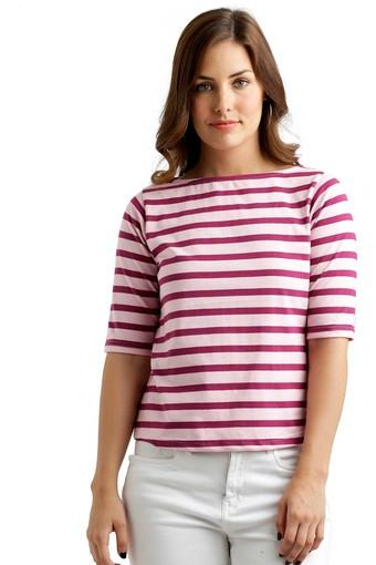 Womens Boat Neck Striped Top
