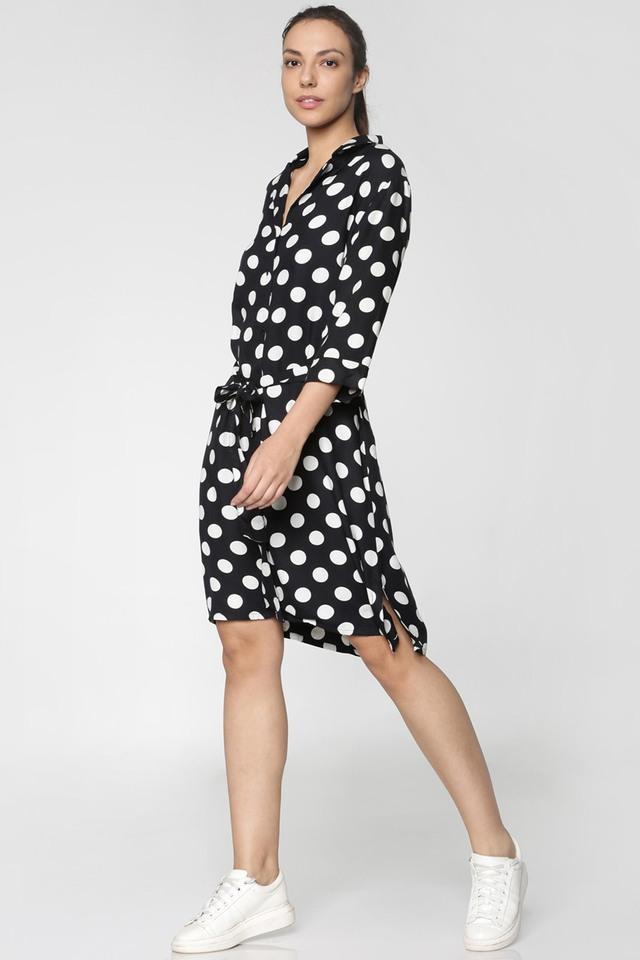 Womens Regular Fit Notched Lapel Polka Dots Shirt Dress