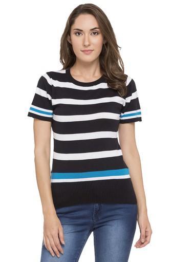 Womens Round Neck Striped T-Shirt