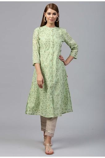Womens Band Neck Printed Kurta