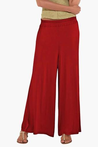 Womens Mid Rise Solid Palazzo Pant
