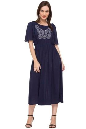 Womens Round Neck Embroidered Calf Length Dress