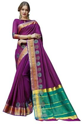 DEMARCAWomens Solid Gold Woven Saree With Blouse Piece - 204771683_9654