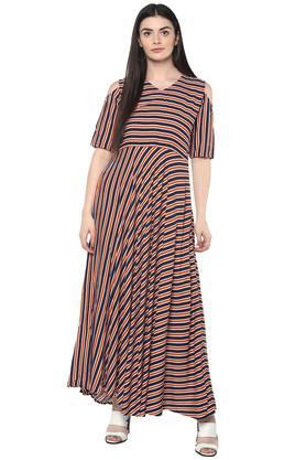 Womens V Neck Striped Maxi Dress
