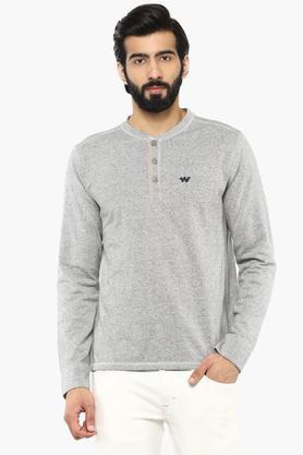 Mens Henley Neck Slub Sweatshirt