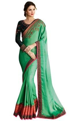 VRITIKA Womens Barfi Silk Embroidered Saree With Blouse - 204061879_9463