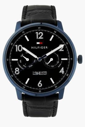 TOMMY HILFIGERBlack Dial Leather Strap Watch - TH1791359J