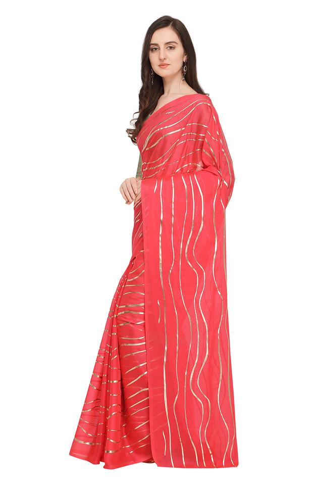Womens Stripe Saree with Blouse Piece