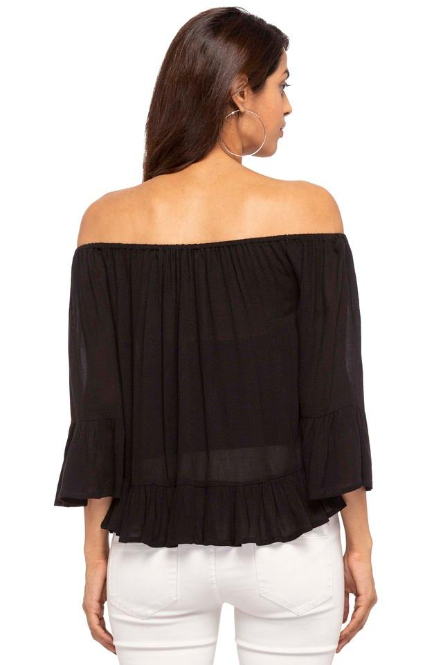 Womens Off Shoulder Neck Solid Top