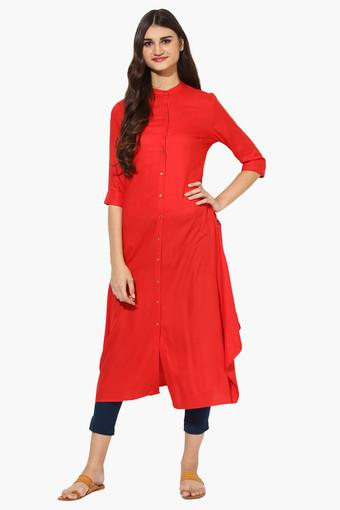 Womens Mandarin Collar Long A-Line Kurta