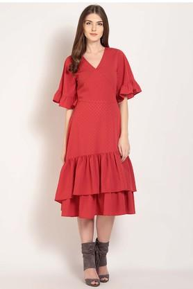 Womens Surplice Neck Self Pattern Midi Dress