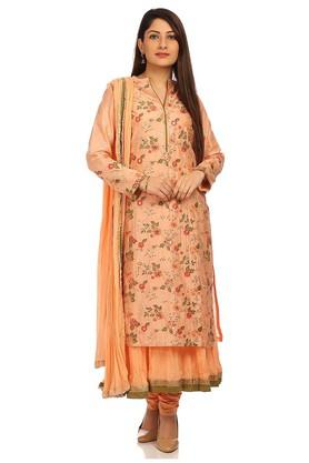 Womens Notched Neck Embellished Churidar Suit