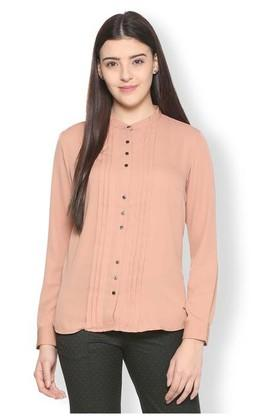 Womens Mandarin Neck Solid Pintuck Shirt