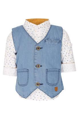 Boys V Neck Assorted Waistcoat with Shirt