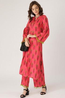 Womens Mandarin Neck Floral Print Kurta and Palazzo Set