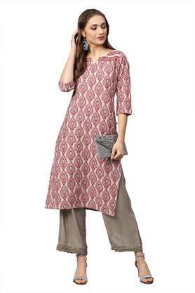 Womens Notched Collar Printed Kurta and Pants Set