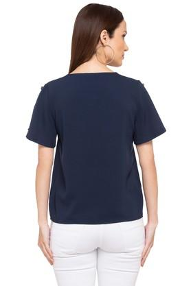 Womens Key Hole Neck Solid Top