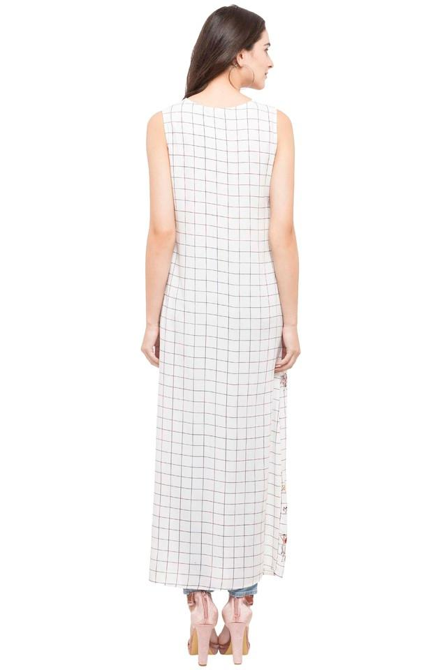 Womens Round Neck Check Maxi Dress