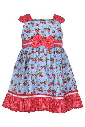 Girls Square Neck Printed A-Line Dress