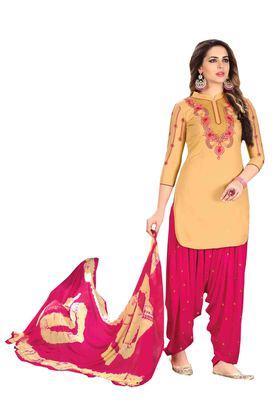 Womens Glaze Cotton Designer Unstitched Patiyala Dress Material