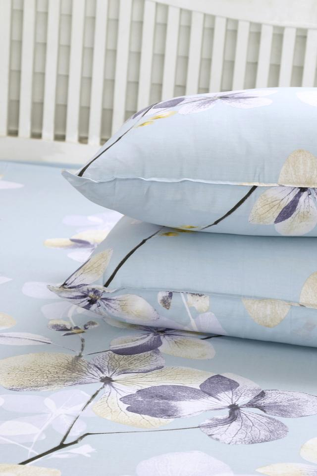 Essence Floral Sloane Blue Printed Superfine Cotton 210 TC Double Bedsheet With 2 Pillow Covers