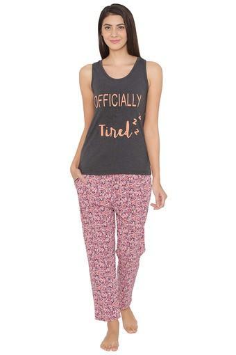 d89afdcdf Buy CLOVIA Womens Round Neck Graphic Print Tank Top and Printed Pyjamas Set