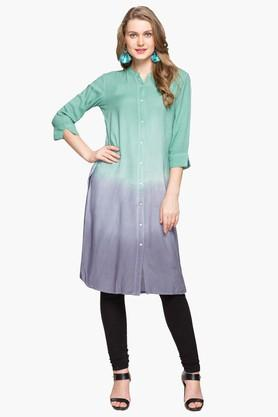 IMARA Womens Mandarin Neck Colour Block Kurta - 203080022