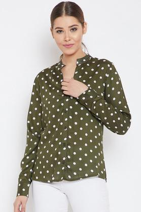 Womens Mandarin Collar Polka Dots Shirt