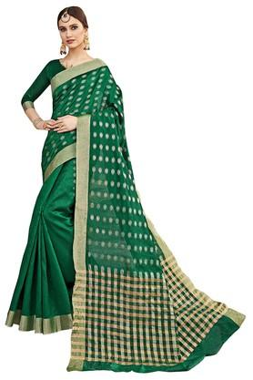 DEMARCAWomens Solid Gold Woven Saree With Blouse Piece - 204771994_9463