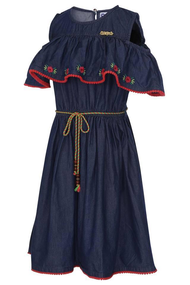 Girls Round Neck Washed Flared Denim Dress