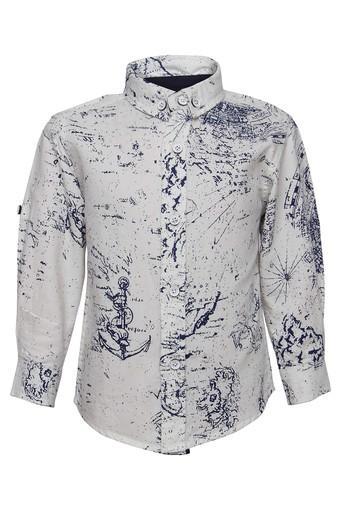 Boys Button Down Collar Printed Shirt
