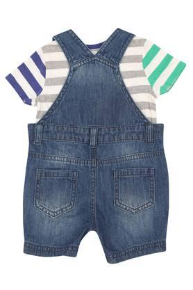 Boys Round Neck Printed Dungarees and Tee Set