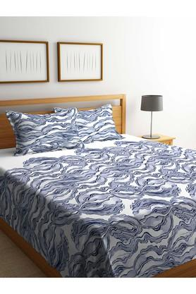 PORTICOPrinted Double Bed Cover With Pillow Cover Set