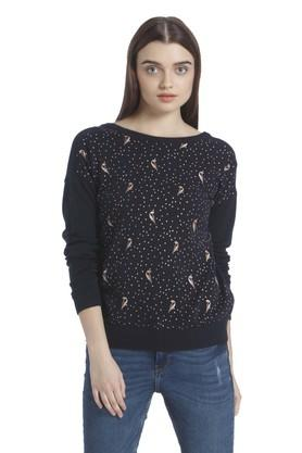 VERO MODA Womens Boat Neck Printed Sweatshirt