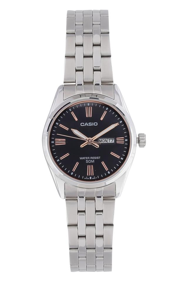 Womens Black Dial Metallic Analogue Watch - A1504