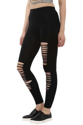 Womens Skinny Fit Solid Distressed Leggings