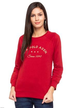 U.S. POLO ASSN.Womens Round Neck Embroidered Sweatshirt