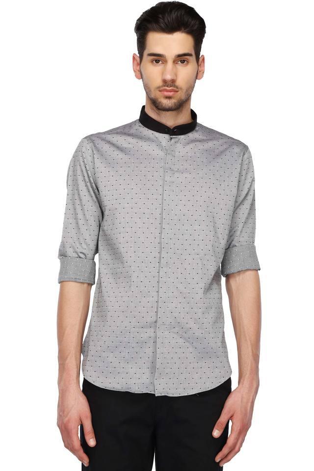 Mens Mao Collar Printed Shirt