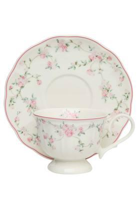 Round La Vie En Rose Printed Cup and Saucer