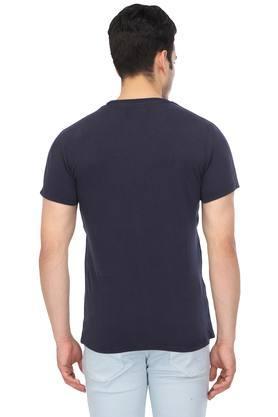 Mens Round Neck Self Printed T-Shirt