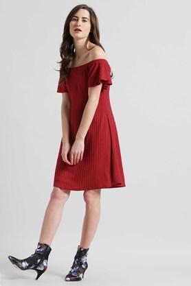 Womens Off Shoulder Solid Flared Dress