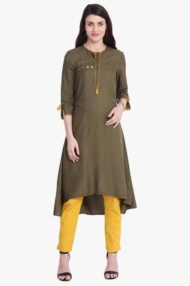 JUNIPERWomens Kantha Dobby A-Line Kurta With Functional Pocket - 204030153_9465
