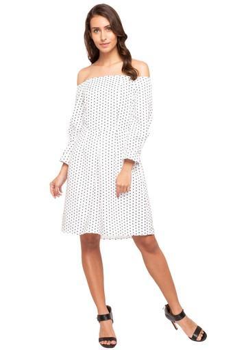 Womens Off Shoulder Printed Knee Length Dress