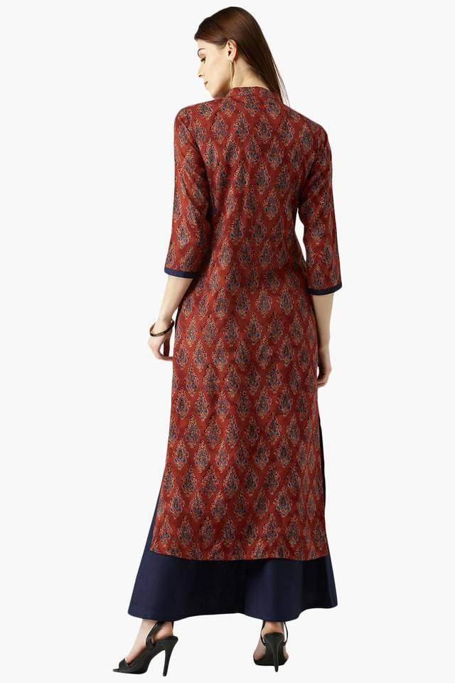 Womens Printed Straight Kurta With Solid Palazzo