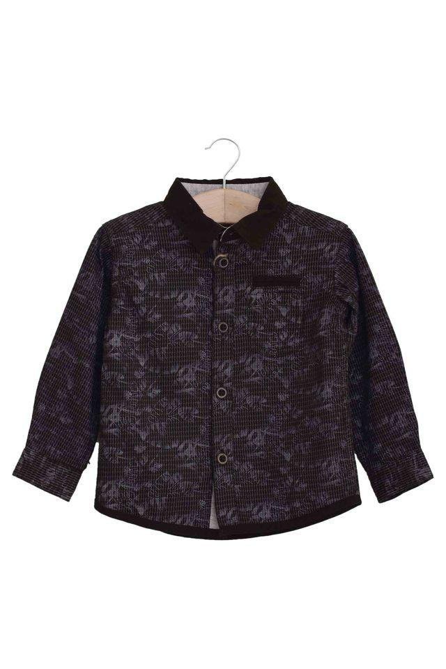 Kids Collared Printed Casual Shirt