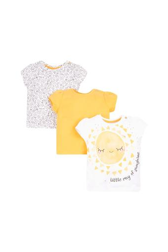 Girls Round Neck Printed and Solid Tee - Pack Of 3