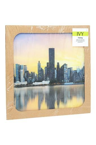 Square Glass City Scape Painting