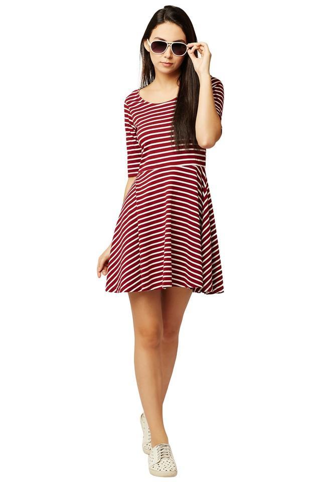 Womens Round Neck Striped Skater Dress